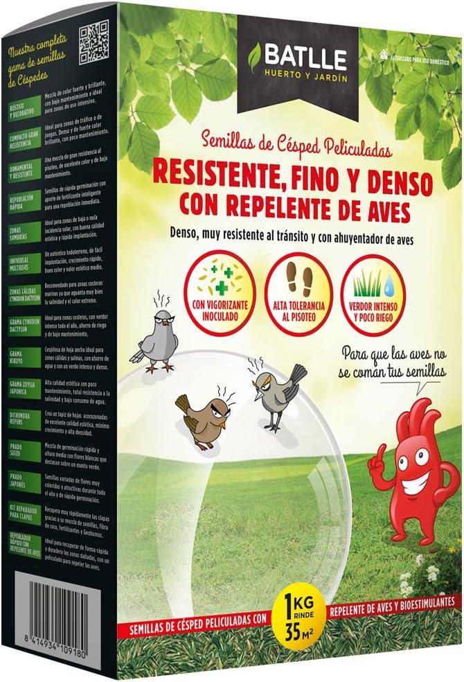 Semillas de Césped - Césped Resistente Fino Y Denso con Repelente de Aves 1kg - Batlle