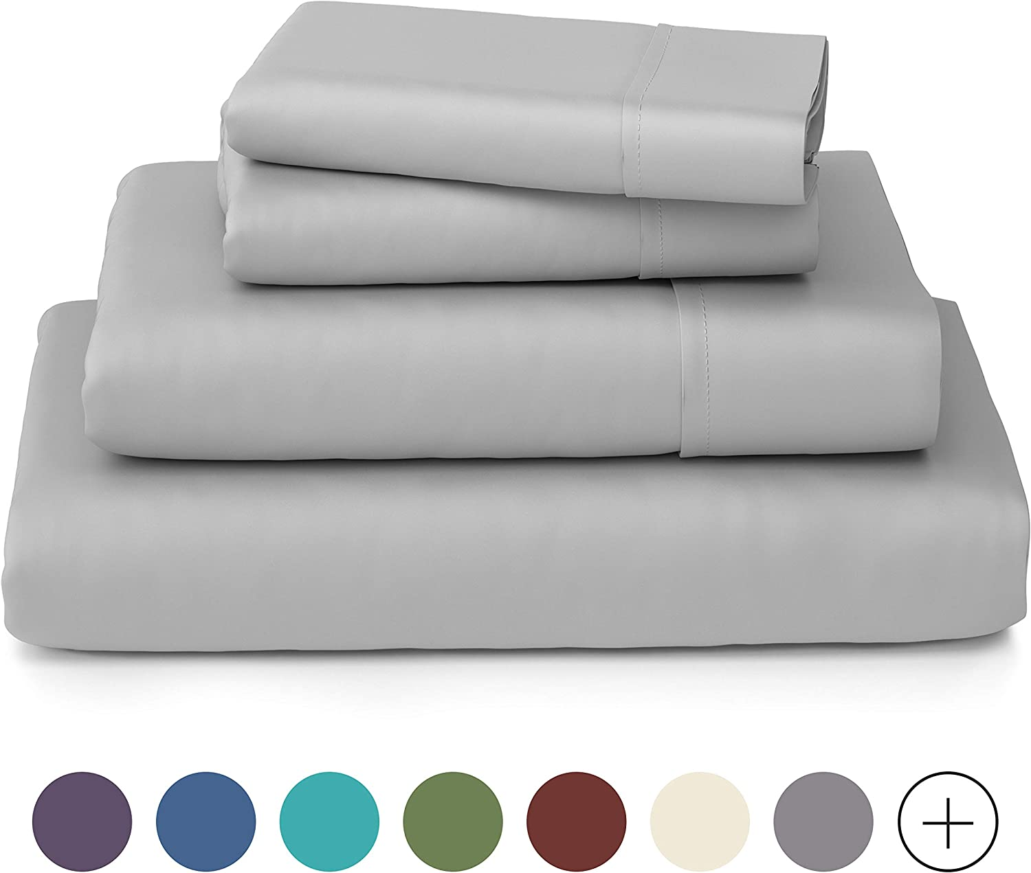 Cosy House Collection Luxury Bamboo Sheets - Hypoallergenic Bedding Blend from Natural Bamboo Fiber - Resists Wrinkles - 4 Piece Bed Sheet Set - 1 Fitted Sheet, 1 Flat, 2 Pillowcases - Queen, White: Home & Kitchen
