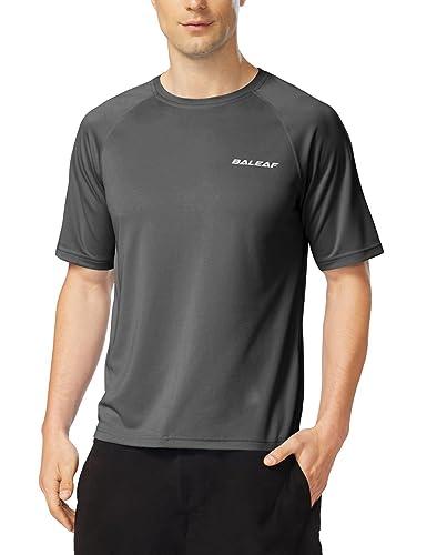 BALEAF Men's Short Sleeve Solid Sun Protection Quick-Dry Rashguard