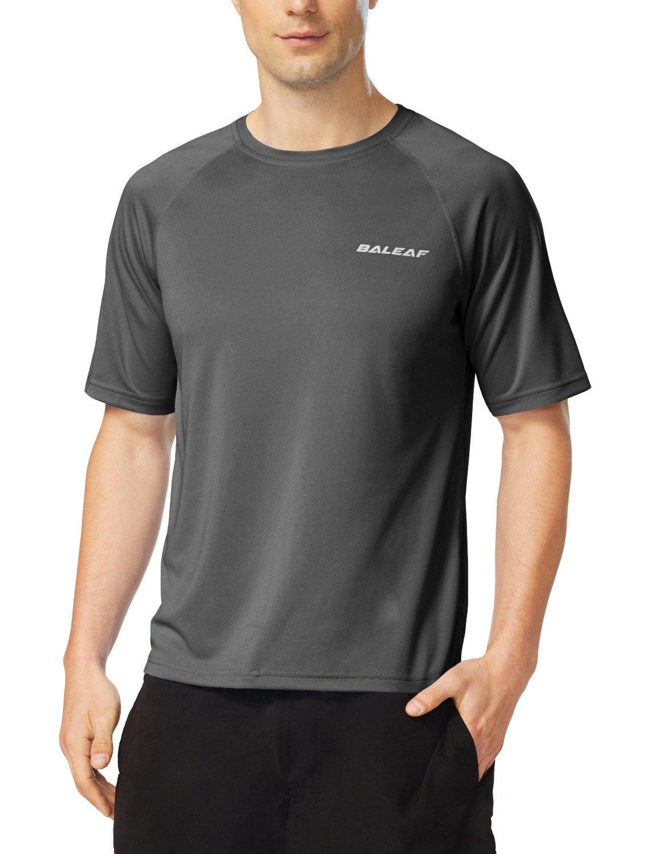 Baleaf Men's Short Sleeve Solid Sun Protection Quick-Dry Rashguard Swim Shirt UPF 50+ Dark Grey Size XXL