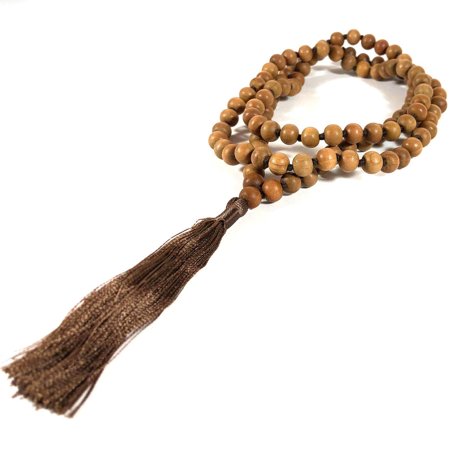 Agar Creations - 108 Bead Sandalwood 8mm Mala Bracelet - Hand Knotted - Buddha Beads, Yoga, Meditation, Tassel Necklace