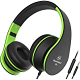 Headphones, Sound Intone Headphones with Microphone, Foldable Headset with Inline Volume Control Strong Low Bass for iPhone iPad Smartphones Laptop Mp3/4 (Black Green)