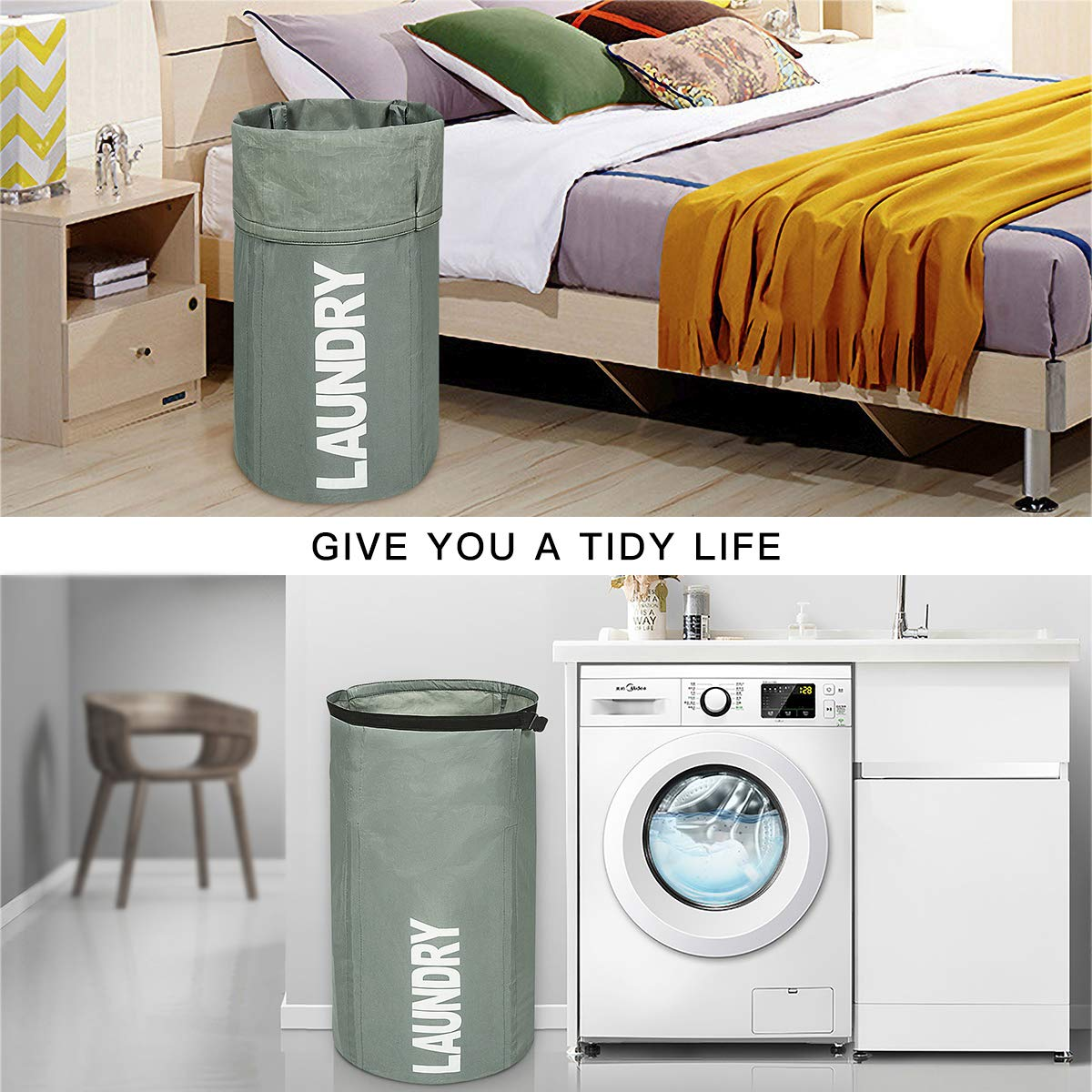 WOWLIVE Extra Large Foldable Laundry Hamper Durable Laundry Basket Collapsible Laundry Bag Backpack Dirty Clothes Hamper Standing Waterproof Hamper Laundry (Gray)