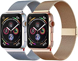 Pigetfy 2 Pack Compatible for Apple Watch Band 40mm 44mm Series 6,Series 5,Series 4,Series 3,Series 2,Series 1,Series SE and Wristband for Iwatch 38mm 42mm (Gold+Silver, 38mm/40mm)
