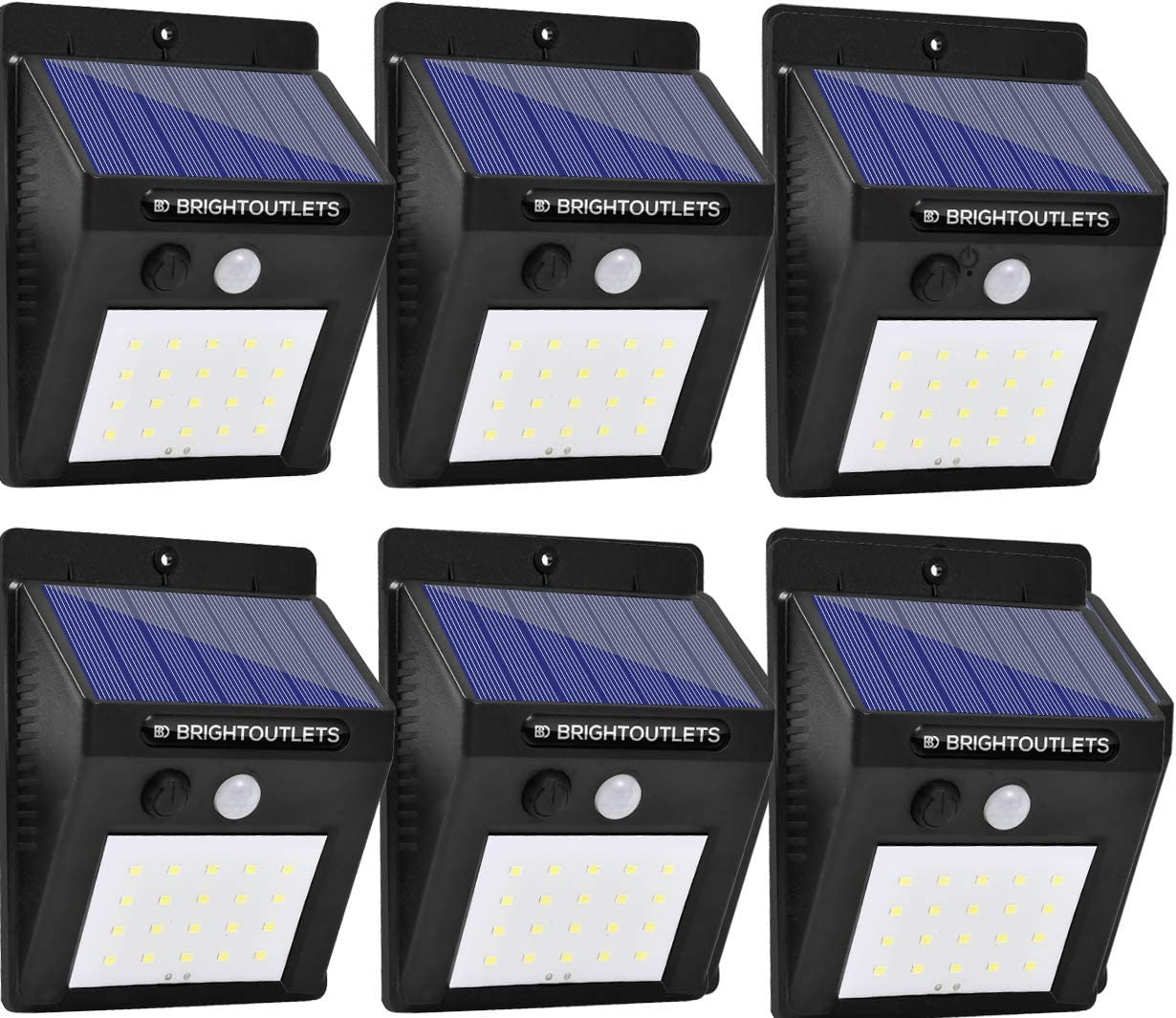 Solar Lights Outdoor, Motion Sensor Light 20 LED Flood Lights for Home Security, Patio, Wall, Pathway, Garden, Yard Bright Waterproof Dusk to Dawn Lighting 6-Pack Pin Activation