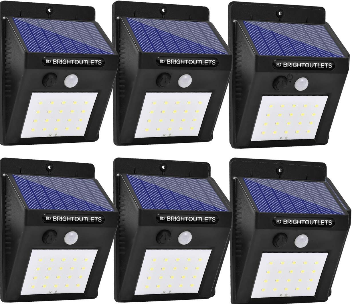 Solar Lights Outdoor Motion Sensor - Light 20 LED Flood Lights for Home Security, Patio, Wall, Pathway, Garden, Yard - Bright Waterproof Lighting with Motion Activated Auto On/Off (6-Pack)