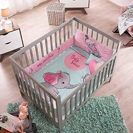 CUTE ANIMALS BABY GIRLS CRIB BEDDING SET NURSERY 6 PCS FOR BABY SHOWER GIFT