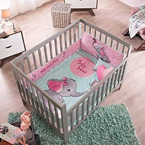 Elephant Baby Girl Crib Bedding Set 6-Piece