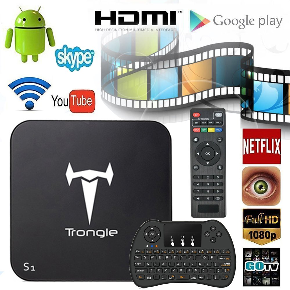 Trongle S1 Amlogic S805 MXQ Quad Core Tv Box Android with Wireless Keyboard  and Mouse