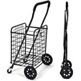 Pipishell Shopping Cart with Dual Swivel Wheels for Groceries - Compact Folding Portable Cart Saves Space - with…