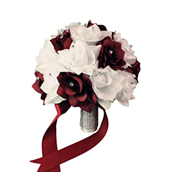 Amazon bridal bouquet burgundy white with ribbon and amazon bridal bouquet burgundy white with ribbon and rhinestone silk flower home kitchen mightylinksfo