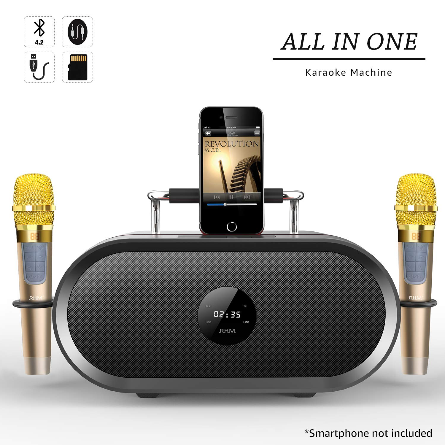 RHM Karaoke Machine for Kids&Adult,2 Wireless Microphones,Rechargeable Battery Speaker,Portable PA Speaker System with Bluetooth/AUX/USB/SD for Home,Party,Wedding,Picnic Outdoors&Indoors Activities by RHM (Image #1)