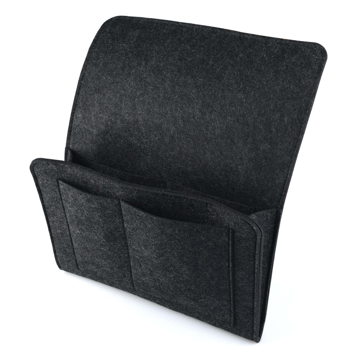 Thick Felt Bedside Caddy Pocket Sofa Bed Tidy Pocket Organiser for Phone, Remote, Magzine, Glasses, Book, Pad with Cable Holes & 4 Pockets HOGAR AMO JL401-01@#A
