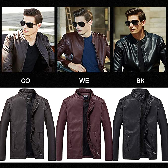 UOFOCO Cool Motorcycle Leather Jacket for Men Business Casual Zipper Coat and Fleece Facket at Amazon Mens Clothing store: