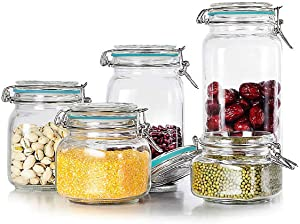 Kingrol 5-Piece Square Glass Jars Kitchen Canisters with Airtight Lids, Wide Mouth Mason Jar Food Storage Container Set for Pickling, Preserving, Canning, 12 Labels, 17 oz/27 oz/34 oz/50 oz/67 oz