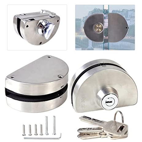 Amazon Glass Door Lock Durable 304 Stainless Steel Double Bolts
