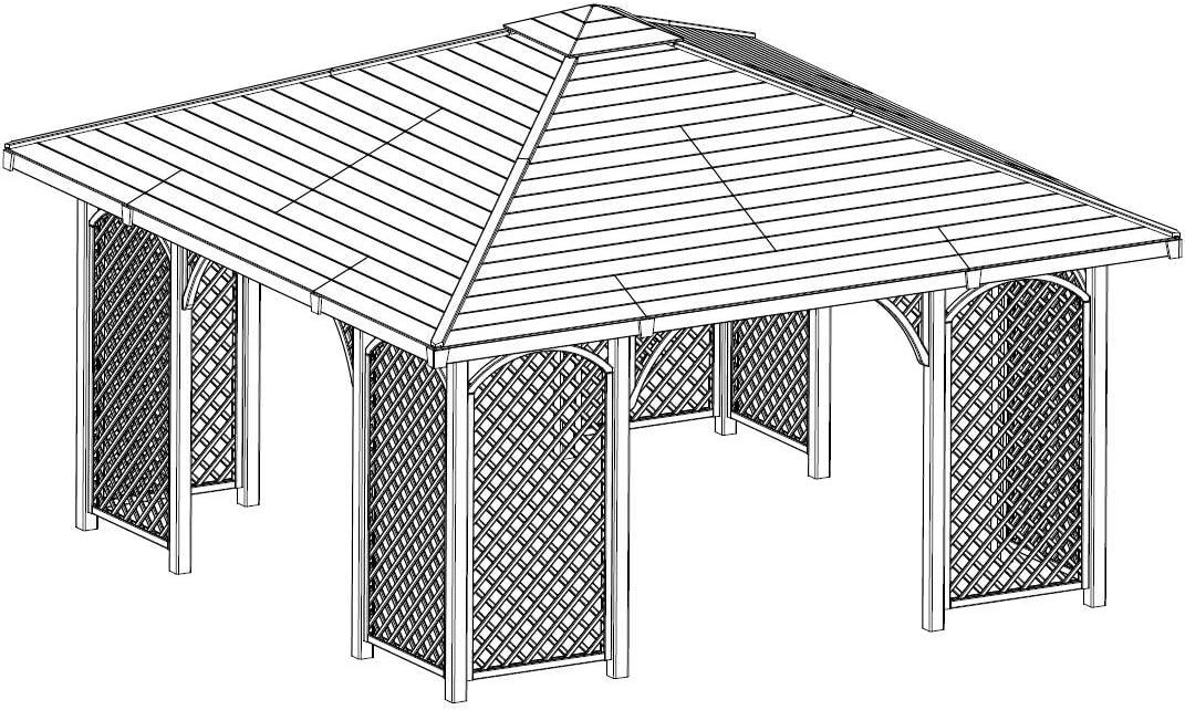Pérgola de madera para jardín, con tejado de madera, 4 m x 4 ...