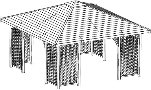 Pérgola de madera para jardín, con tejado de madera, 4 m x 4 m (medida externa 4, 45 m): Amazon.es: Jardín