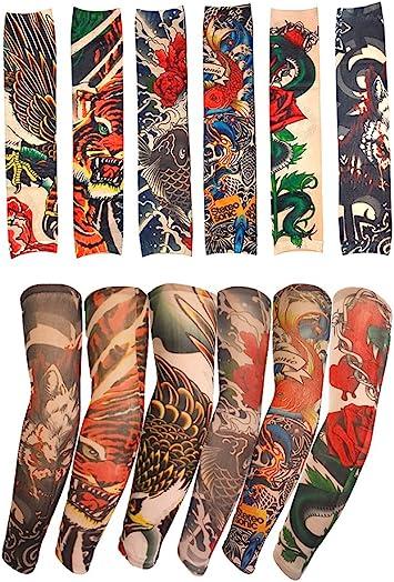 10 disegni Finto Tatuaggio Manica Costume-Unisex Costume Di Nylon Temporaneo