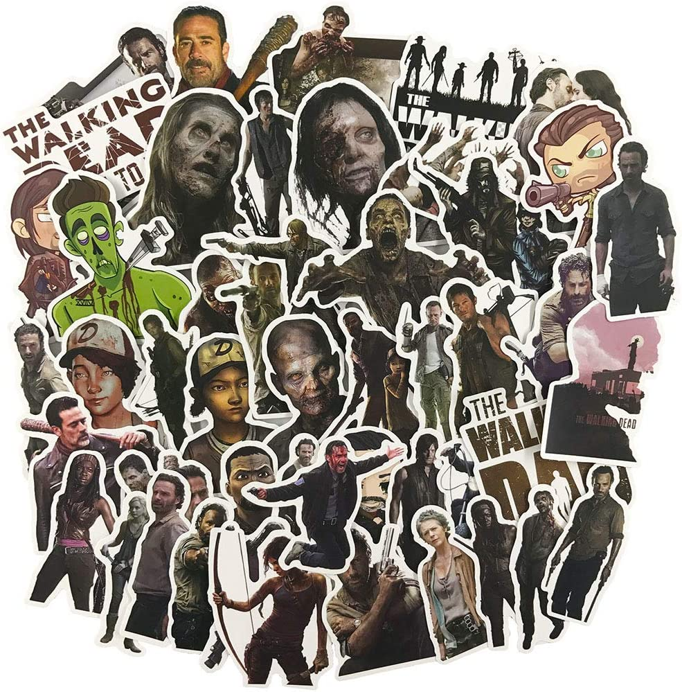 The Walking Dead Laptop Stickers, Water Bottle Travel Case Computer Wall Skateboard Motorcycle Phone Bicycle Luggage Guitar Bike Stickers Decal 50Pcs Pack