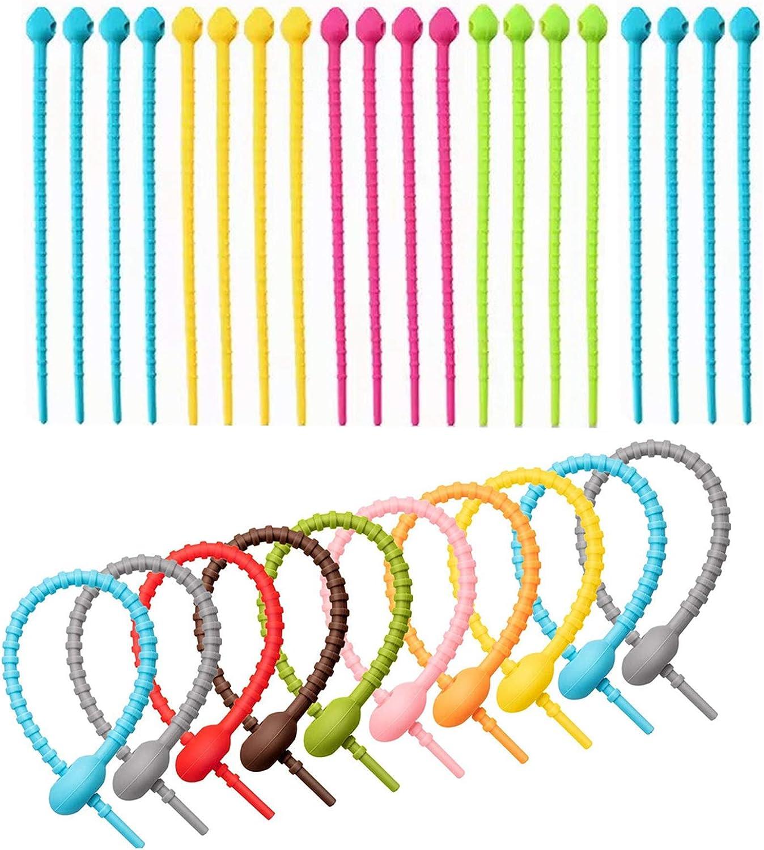 30 Stück Colorful Silikon Krawatten Multi Smart Tasche Clip Kabel Binder Silikon Schnur Silikon Kabelbinder Halter Silikonkabelbindern Für Das Kabelmanagement Für Zuhause Büro Farbmischung Baumarkt