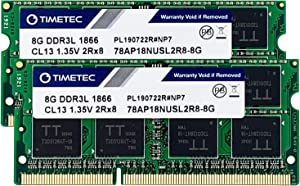 Timetec Hynix IC 16GB KIT (2x8GB) DDR3L 1866MHz PC3-14900 Unbuffered Non-ECC 1.35V CL13 2Rx8 Dual Rank 204 Pin SODIMM Memory RAM Module Upgrade (16GB KIT (2x8GB))