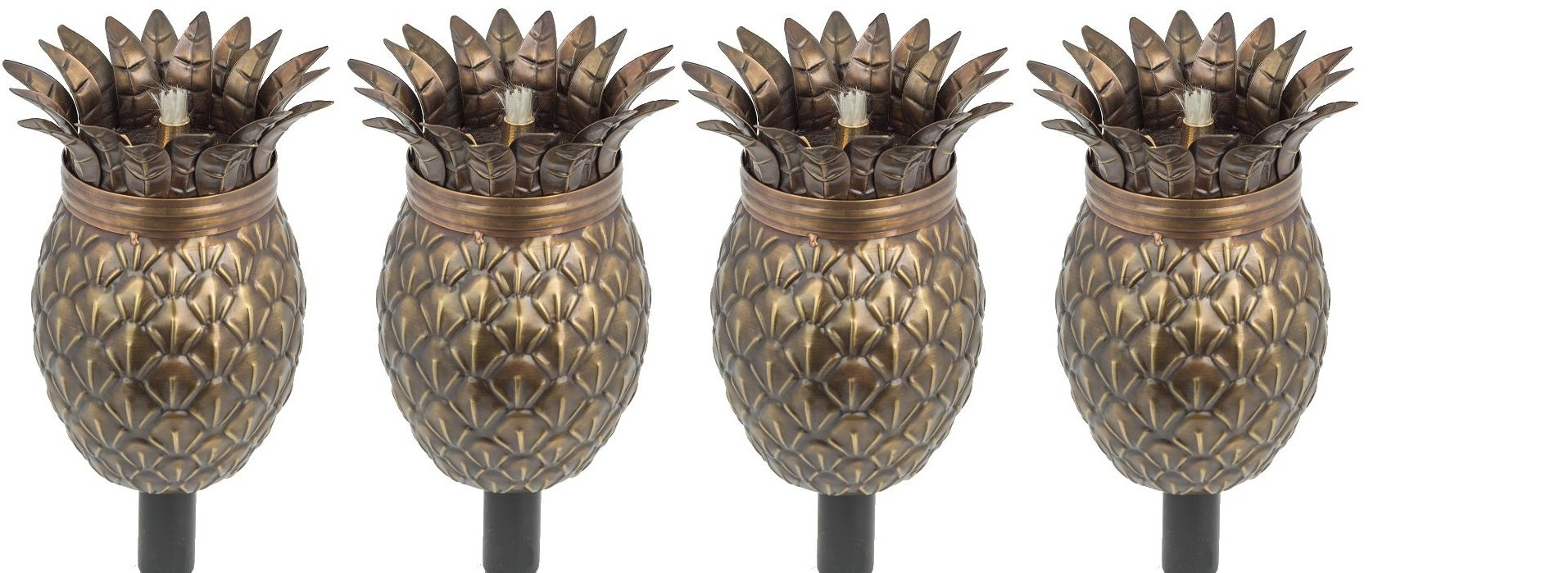 Legends Maui Tiki Torches with Poles, Set-of-4, (Bronze Pineapple) by Legends Direct