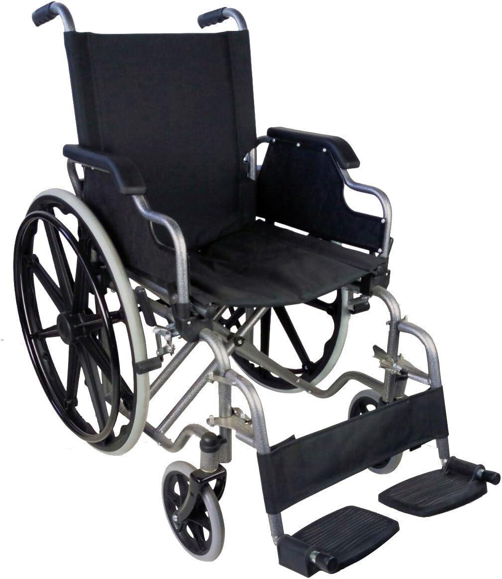 Mobiclinic, modelo Giralda, Silla de ruedas plegable, ortopédica, para minusválidos, de aluminio, reposapiés y reposabrazos extraíbles, color Azul y Negro, asiento 46 cm, ultraligera