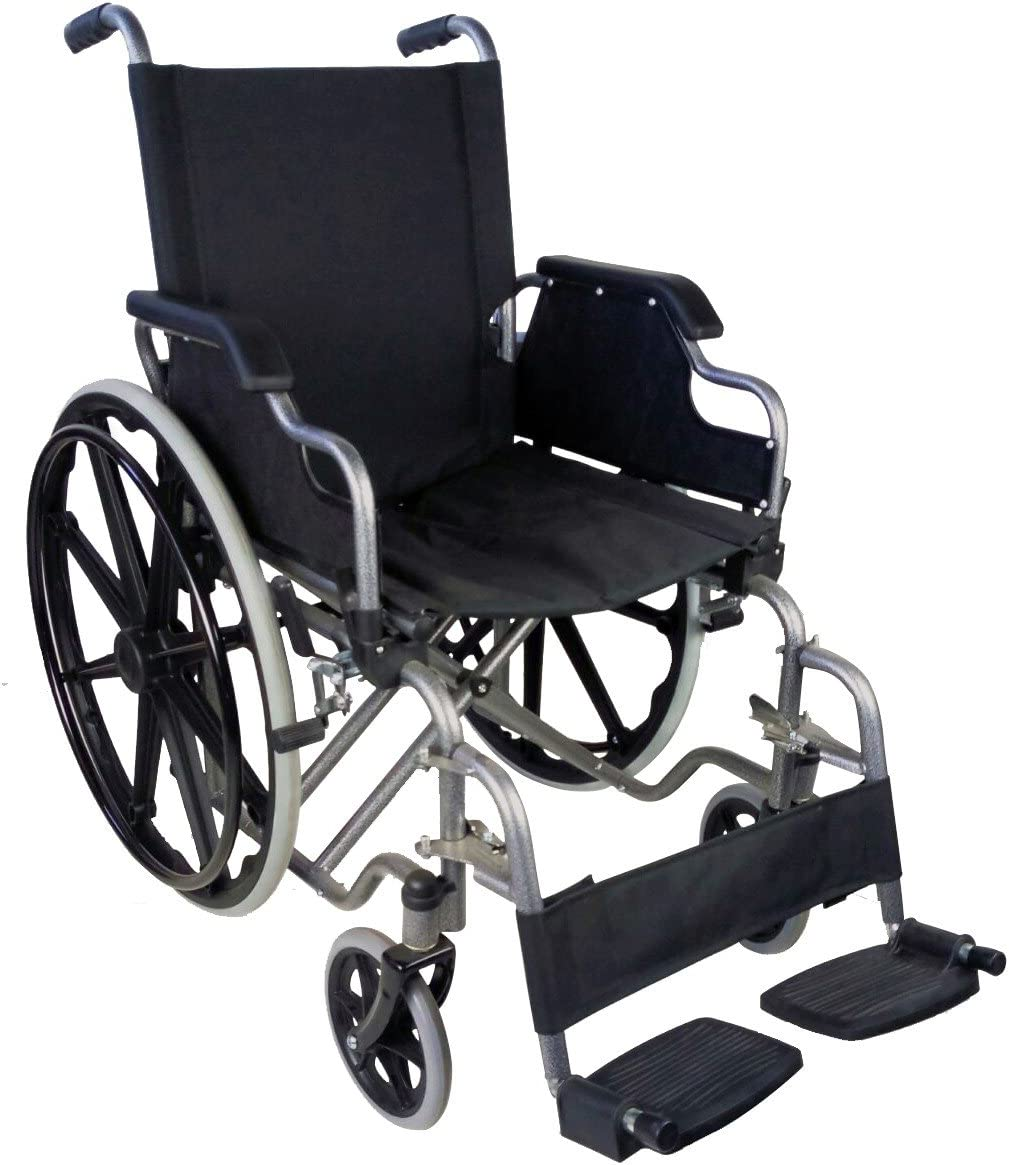 Mobiclinic, modelo Giralda, Silla de ruedas ortopédica, plegable, para minusválidos, de aluminio, freno en manetas, reposapiés y reposabrazos extraíbles, color Negro, asien