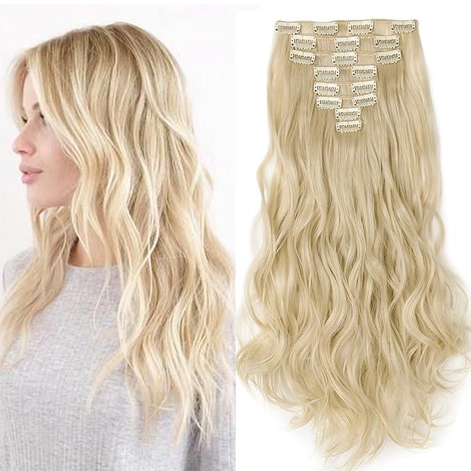 Extensiones en clip como cabello real, piezas de pelo, 8 trencillas, extensión de pelo ondulada: Amazon.es: Belleza