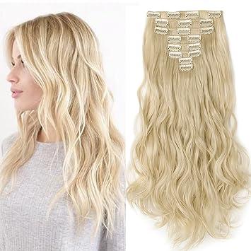 Clip In Extensions Wie Echthaar Blond Haarteile 8 Tresssen Günstig