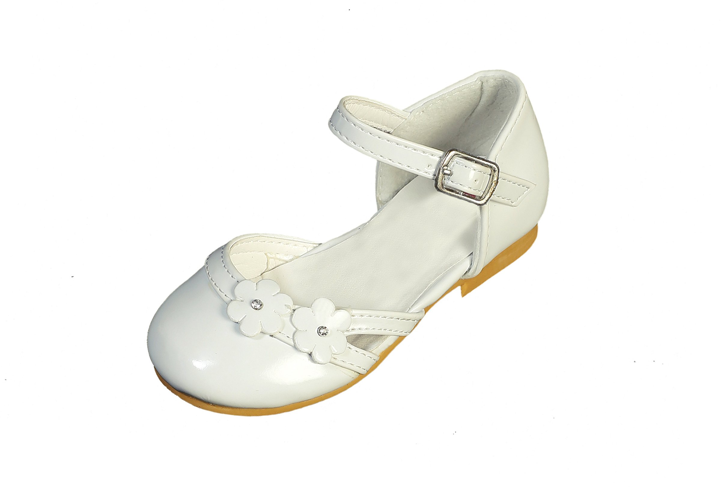 DressForLess Cut Out Flower Patent Flower Girl Shoes, Ivory, 5
