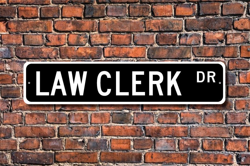 CELYCASY Law Clerk Law Clerk Gift Law Clerk sign law office employee law assistant lawyer aide Custom Street Sign Quality Metal Sign
