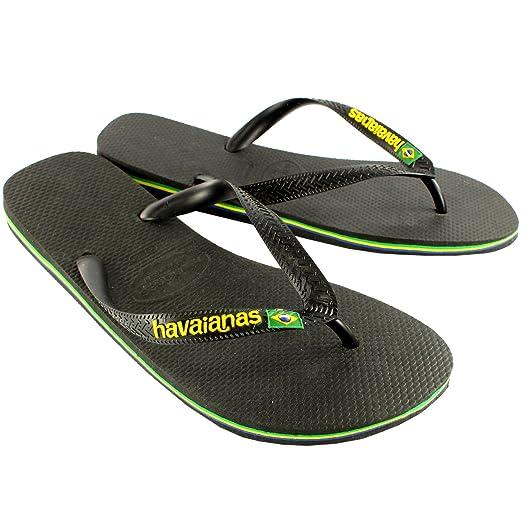 Mens Havaianas Brasil Logo Summer Flip Flops Sandal Slip On Flats - Black 0  7/