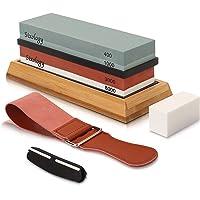 Sixology Premium Knife Sharpening Whetstone Stone Kit, Grit 400/1000 3000/8000 Water Stone, Professional Whetstone…