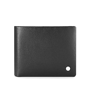 Nclon Diseñador Cartera Simple,Bloqueador rfid Slim Real auténtica De cuero genuino Hacia los lados Bifold Billetera Monedero Wallet-negro: Amazon.es: ...