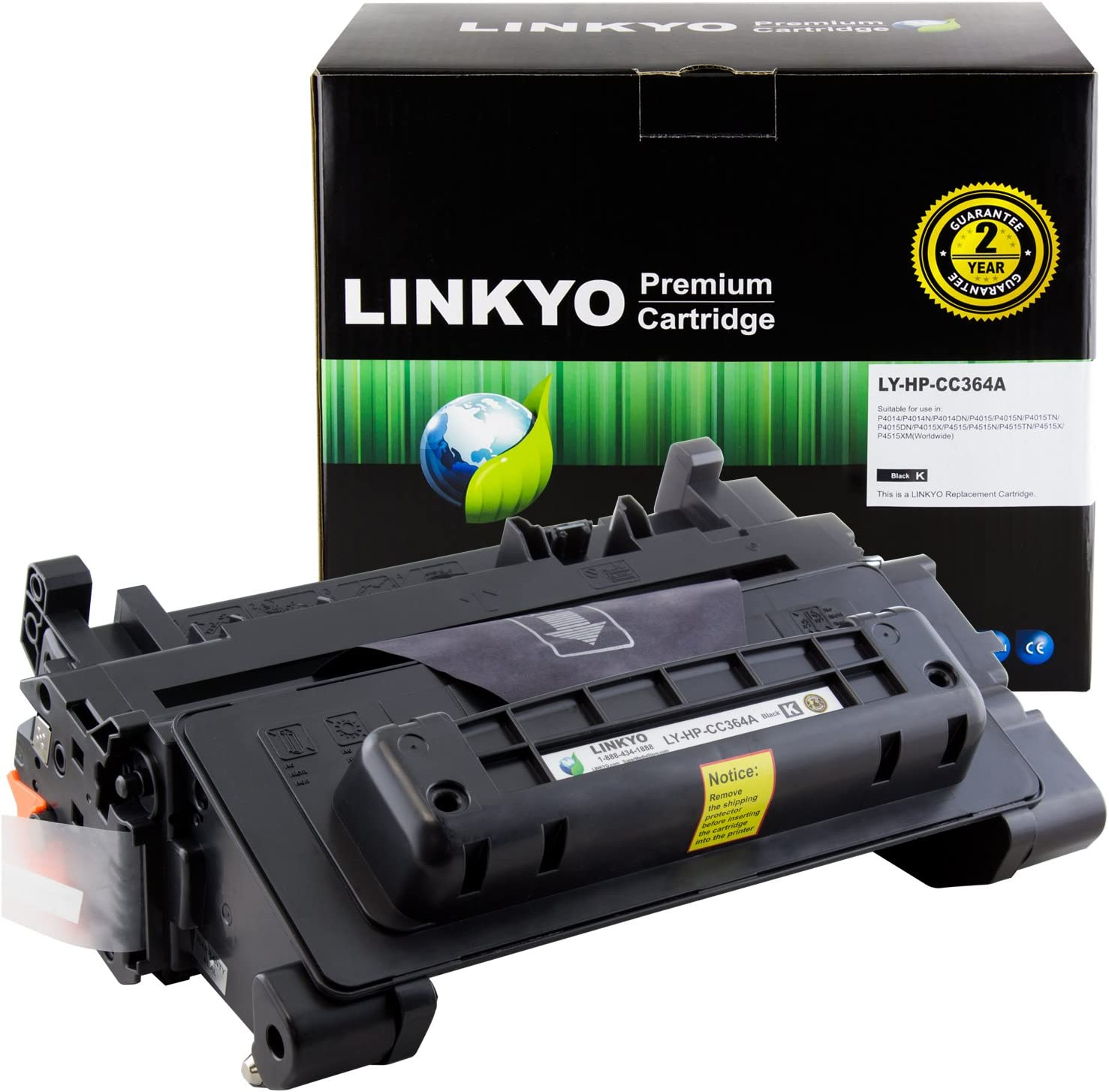 LINKYO Compatible Toner Cartridge Replacement for HP 64A CC364A (Black)