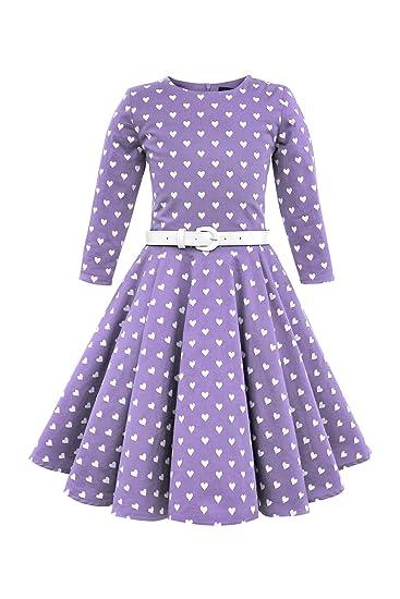 10bffa69330eb BlackButterfly Enfants Robe Années 50 Vintage Les Coeurs  Chloe  (Violet