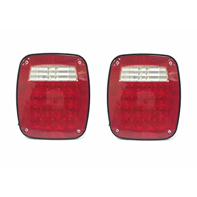 MAXXHAUL 80685 Universal Square 12V Combination 38 LED Signal Tail Light - for Truck, Trailer, Boat, Jeep, SUV, RV, Vans, Flatbed,2 Pack: Automotive [5Bkhe2001794]