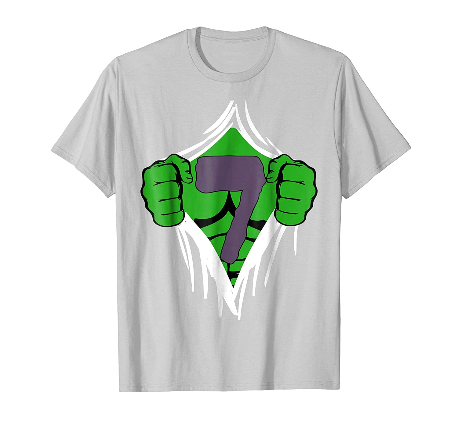Green Man Chest Superhero Birthday Shirt For 7 Year Old Boys Teechatpro