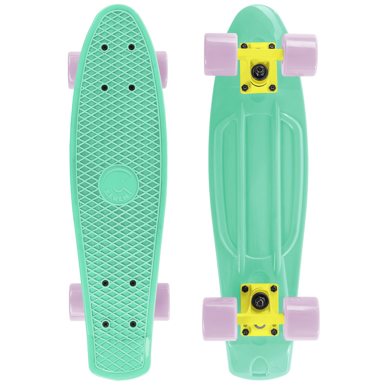Cal 7 Mini Cruiser Skateboard Complete 22 Inch Standard Style Plastic Board Style (Icy Green/yellow/light Pink)