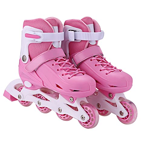 Roller Skates Amazon Com >> Ancheer Adjustable Inline Skates For Women Kids Led Wheels Inline Roller Skates Boys Girls Size 12j 8 Outdoor Indoor