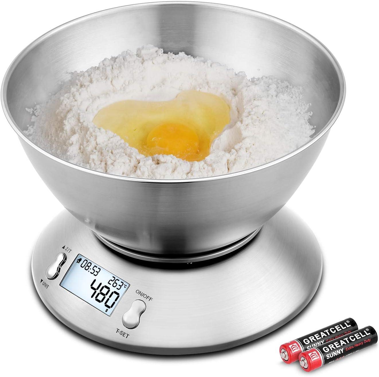 Uten Báscula de Cocina Electrónicas 5kg Balanzas para Alimentos Función de Tara con Pantalla LCD Apagado Automático con Cuenco Removible