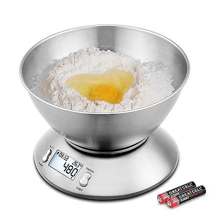 Uten Báscula de Cocina Balanzas para Alimentos Función de Tara con Pantalla LCD Apagado Automático con Cuenco Removible 2 Baterías Incluidas