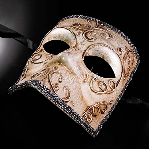 Silver Lining Venetian Masquerade Mask w// Crackle Paints Phantom of the Opera