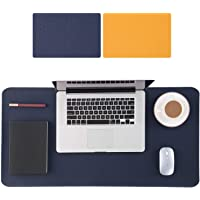 Extended Gaming Mouse Pad 90 x 40 Centimeters, Double-Sided Use in 2 Colours, PU Leather Large Desk Mouse Keyboard Mats for Gaming Working, Oversized Soft Desktop Mat Non-Slip Waterproof (Blue-Yellow)