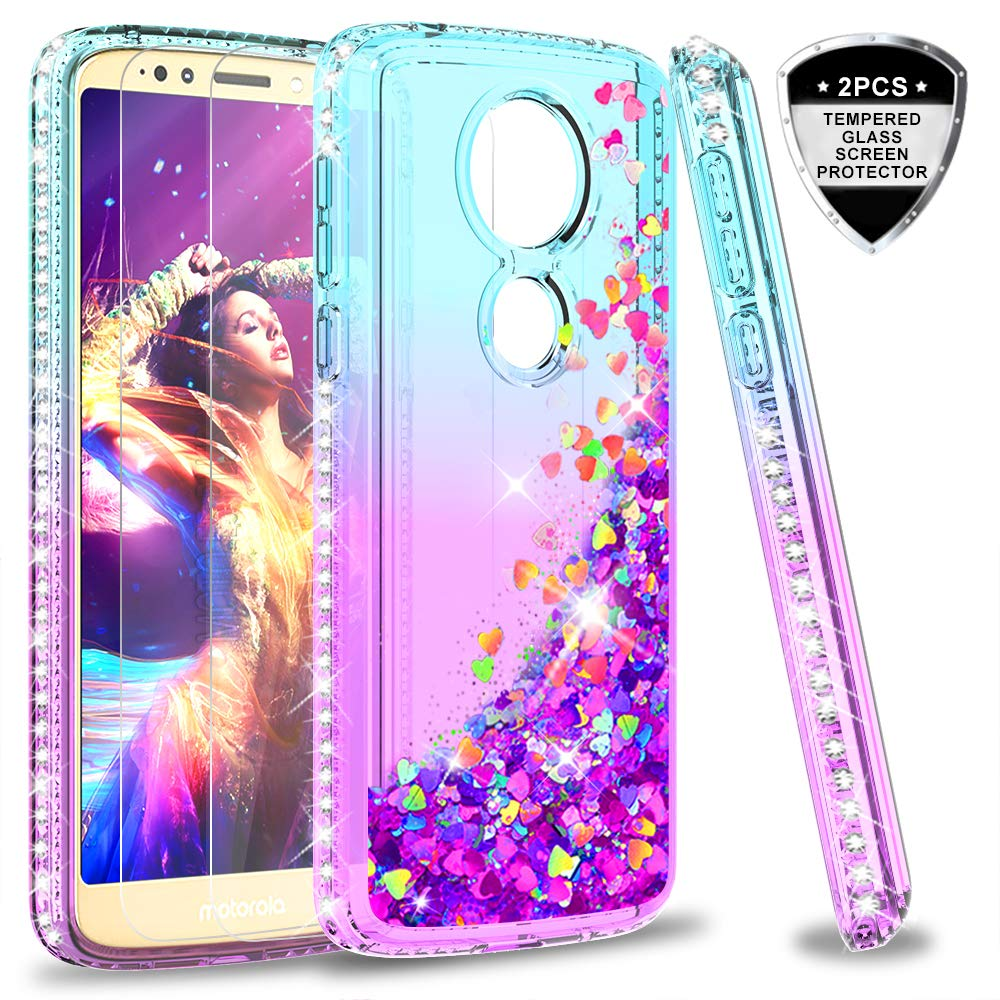 Moto E5 Plus Case, Moto E5 Supra Case (Not Fit Moto E5) with Tempered Glass Screen Protector for Girls Women, LeYi Glitter Cute Moving Quicksand Clear Phone Case for Motorola E5 Plus ZX Teal/Purple