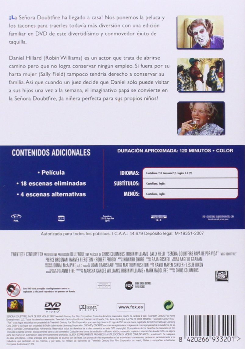 Amazon.com: Señora Doubtfire (Edición Final) (Import Movie) (European Format - Zone 2) (2007) Robin Williams; Sally Fie: Movies & TV