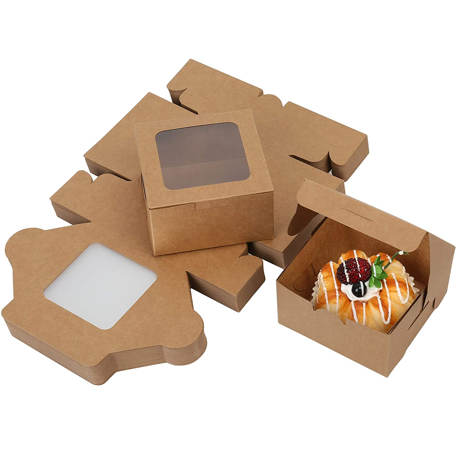 LotFancy 60 Pc Bakery Boxes with Window, 4x4x2.3 Inches Pastry Boxes for Cookies, Macarons, Chocolates and Baked Goods, Small Treat Boxes for Holidays, Parties, Birthday Gift Giving, Brown Kraft Paper