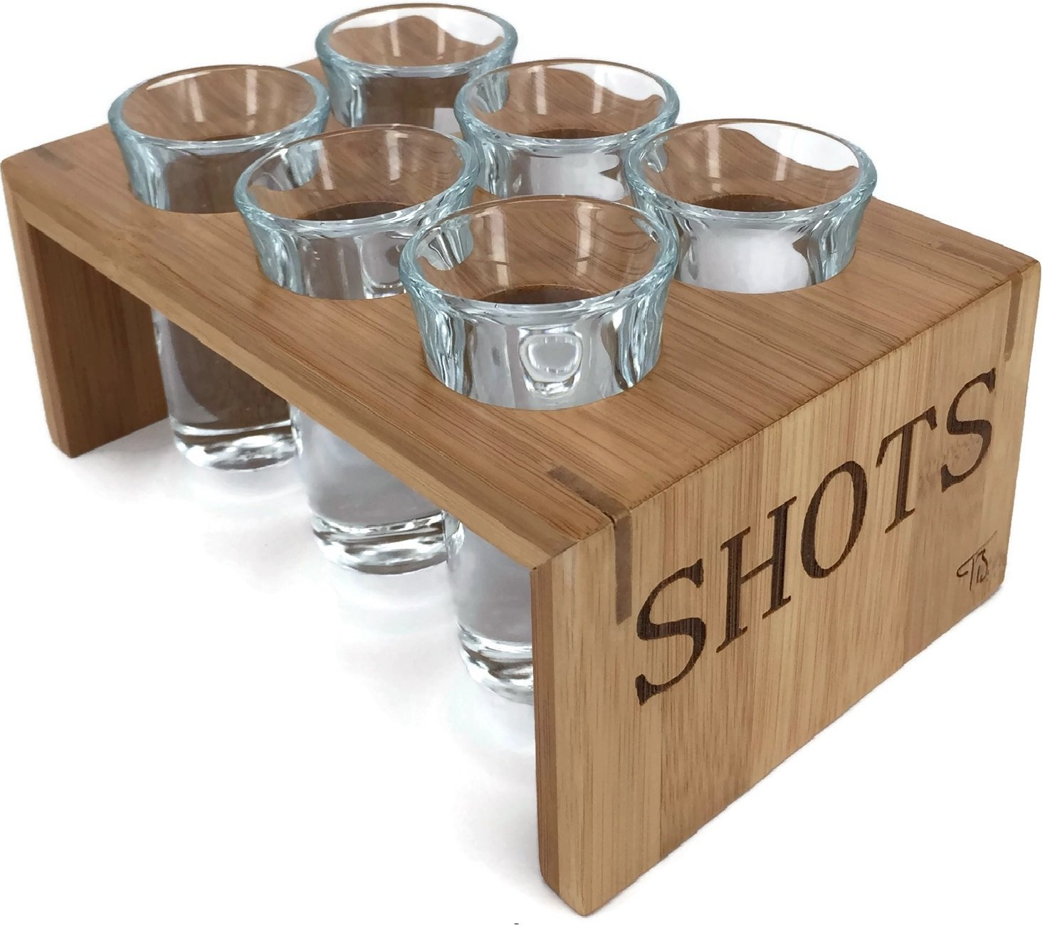 Shot Glass Set (6 Glasses) in Stylish Vintage Bamboo Shot Glass Holder - 1 Ounce Glasses - Glassware and Shot Stand - Professional Look - Pro Or Amateur Bartenders - Best Gift Ideas (Crystal Clear) by Trendy Bartender